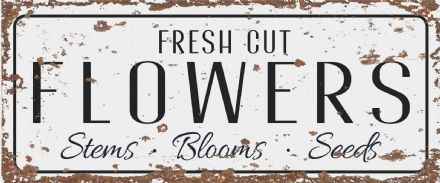 fresh cut flowers - Metal Vintage Wall Sign Kitchen